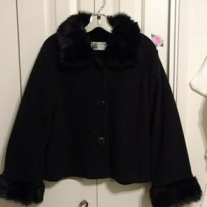 Coat with fur collar and cuffs